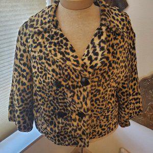 Vintage faux leopard cropped jacket